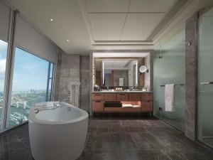 Iconic City View Room bathroom - Shangri-La Hotel, At The Shard, London
